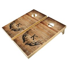 Rustic Antler Distressed Wood Wedding Monogrammed Cornhole Set - tap/click to personalize and buy #CornholeSet #rustic, #wood, #sports-outdoor-recreation, #weddings, #anniversary, Wedding Cornhole Boards, Custom Cornhole Boards, Cornhole Set, Cornhole Designs, Fun Outdoor Games, Cross Beam, Corn Hole Game, Wedding In The Woods, School Colors