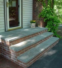 Bluestone steps with brick risers on the vertical Rebuild Concrete Steps Leading To Basement - Building & Construction - DIY Chatroom - DIY Home Improvement Forum Patio Steps, Brick Steps, Outdoor Steps, Garden Steps, Diy Patio, Patio Ideas With Steps, Pavers Patio, Garden Path, Front Porch Steps