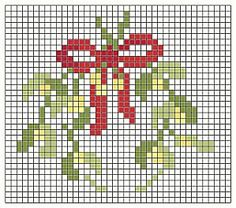 Mistletoe • Chart – I saw cute little ornament embellished with this design and now I wish I had pinned it.