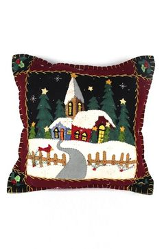 Main Image - New World Arts Church Accent Pillow Applique Cushions, Patchwork Cushion, Felt Applique, Applique Patterns, Quilt Patterns, Christmas Cushions, Christmas Pillow, Felt Christmas, Christmas Crafts
