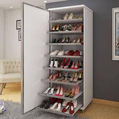 Shoe cabinet is so nice. Closet Designs, Closet Bedroom, Bedroom Design, Diy Bed, Storage Solutions Bedroom, Shoe Cabinet Design, Tall Cabinet Storage, Shoe Storage, Shoe Rack