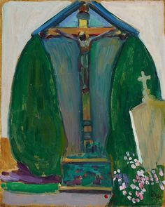 Gabriele Münter, Cruzifix, Oil on card, 41 x 33 cm