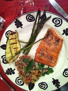 Salmon, Asparagus, Quinoa, Zucchini