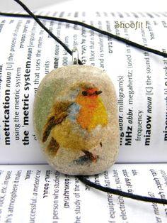 Bird necklace Bird pendant bird charm bird beach stone by Shoofit, $12.00