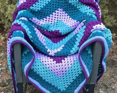 Purple and Teal Giant Granny Square Crochet Blanket