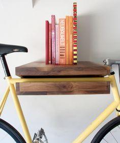 Bike shelf: read recipe, take bike, go shopping. On apartment therapy.