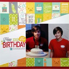 Happy 13th Birthday - Scrapbook.com - Piece together your own background by cutting up bits from a 6x6 pad!