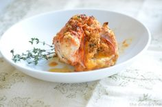 stuffed chicken,  creamy cheeses, maple cured ham & savory flavors of sourdough, thyme, garlic & parsley