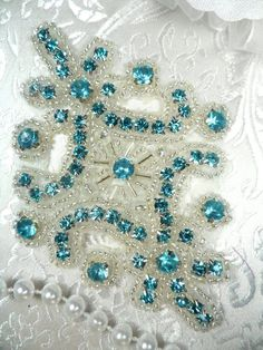 Turquoise Applique Crystal Rhinestone Silver Beaded Size: 4 x each All Measurements are Approximate. More Available convo if you need Bead Embroidery Jewelry, Embroidery Hoop Art, Beaded Embroidery, Embroidery Designs, Sequin Appliques, Rhinestone Appliques, Beads And Wire, Silver Beads, Tambour Beading