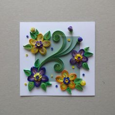 Quilled Paper Handmade Greeting Card With 3D Flowers