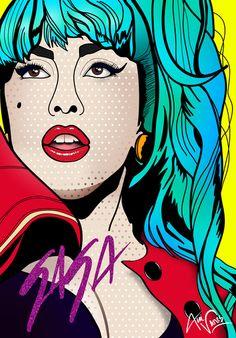 Lady Gaga - portrait (2012) by Alli Vanes  [Roy Lichtenstein style]