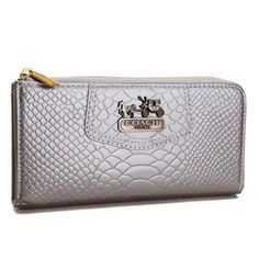 Cheap And Fashion Coach Madison Continental Zip In Croc Embossed Large Silver Wallets AGK Are Here!