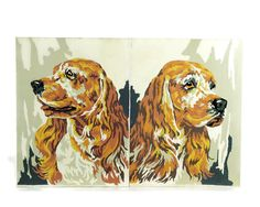 This cute pair of vintage cocker spaniel paint by numbers has one dog looking to the left and the other to the right. Colors include brown,