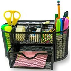 PRTsupply Desk Organizer | Caddy, Features Elegant Black Mesh Wire Design, 9 Space Saving Writing Supplies Compartments With a Large Drawer - Perfect For Gifts, Kids, Students, and Office Stationary
