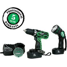 """New Hitachi 1/2"""" Impact Drill Driver Combo Tool kit  w/Flashlight Li-Ion 18v"""