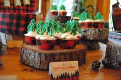 Lumberjack Birthday | Tree Cupcakes | Bluebird Box Co.