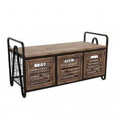 Συρταριέρα Παγκάκι Ξύλινο/ Μεταλλικό 95x40x50cm