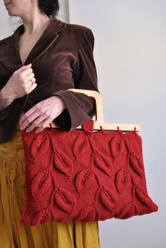 Designer hand knit leafy handbag purse with wooden handles in burnt orange - A Walk Among Trees - eco-fashion LAST ONE AVAILABLE on Etsy, $266.00
