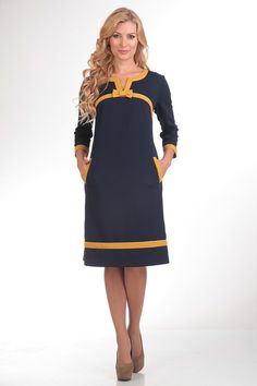 Dark Blue Dress Casual.Straight Dress with Pockets.Contrast Elegant Dress With Bow.Work Dress Vintage Inspired