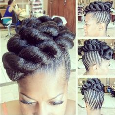 Jumbo twists and braids on natural hair.  Great protective style for summer or a special event.