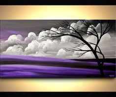 48 x 24 Landscape abstract painting large Blooming by OsnatFineArt