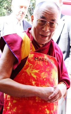 The Dalai Lama will be more than happy to put on an apron (and in the picture I CAN'T find, rubber gloves) and serve you soup!