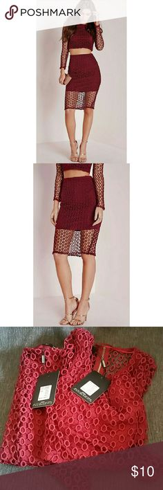Missguided circle co-ordinate set Deep burgundy co-ordinate set with circle detail and midi skirt. The detail and color are perfect and this outfit works all seasons. Missguided Dresses Midi