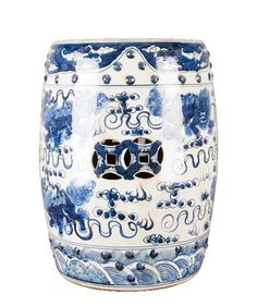 Blue and White Chinese Lion Garden Stool – The Pink Pagoda