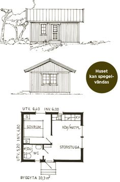 Häggatorp 33 | Fritidshus - Landsbrostugan AB Tiny House Cabin, Small House Plans, House Floor Plans, Cabin Design, Small House Design, Cargo Home, Studio Apartment Floor Plans, Vintage House Plans, Little Cabin