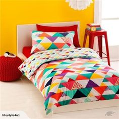 Image for Double Quilt Cover Set - Geometric from Kmart Kids Bed Sheets, Bed Sheets Online, Rainbow Bedding, Double Quilt, Blue Comforter Sets, Geometric Quilt, Single Quilt, Girls Bedroom, Colors