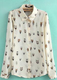 Apricot Lapel Long Sleeve Owl Print Blouse - Sheinside.com