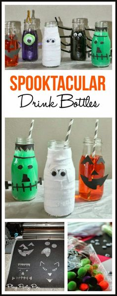 DIY Halloween drink bottles - absolutely love that mummy! What a fun Halloween party idea!