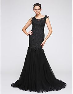 Fit & Flare Scoop Neck Court Train Tulle Formal Evening Dress with Appliques by TS Couture® – USD $ 345.00