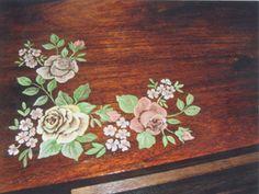 cassapanca noce decorata a mano