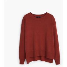 MANGO Essential Cotton-Blend Sweater (65 CAD) ❤ liked on Polyvore featuring tops, sweaters, long sleeve cable knit sweater, cable sweater, chunky cable knit sweater, red top and red sweater