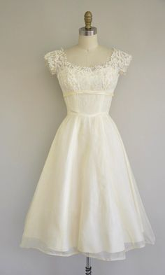 Vintage 1950's Tea Length Lace Chiffon Dress