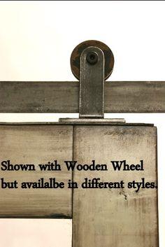"""Top Mount Modern Rolling Door Hardware with 3"""" Black Nylon Wheel $1300"""