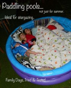 Inflatable kiddie pool for safe toddler/kid bed or stargazing or camping or watching movies on New Year's Eve!