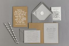 White calligraphy on kraft paper gives this grey suite a clean finish…