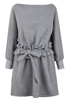 Grey Boat Neck Ruffle Waits Long Sleeve Dress - Sheinside.com