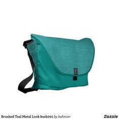 Brushed Teal Metal Look kash001 Messenger Bag