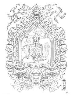 Tibet Art, Paradise Tattoo, Thailand Art, Circus Art, Oriental Tattoo, Home Tattoo, Thai Art, Buddhist Art, Tantra