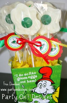 Green Eggs and Ham treats Dr. Seuss, boo this link doesn't work but cute pic for reference