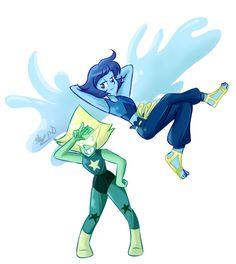 Lapidot, Alien Concept, Concept Art, Rebecca Sugar Art, Steven Universe Pictures, Lapis Lazuli Steven Universe, Lapis And Peridot, Fanart, Kawaii