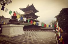 One of our kung fu training areas behind the beautiful Drum Tower at the #Shaolin Temple.