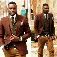 I like the earth tones Sweater Jacket, Sweater Outfits, Fall Outfits, Men Sweater, Suit Jacket, African Men Fashion, Mens Fashion, Swagg, Black Men