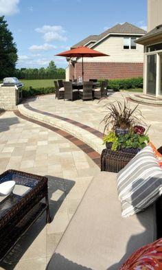 unilock patio and steps with umbriano paver - Unilock Patio Designs