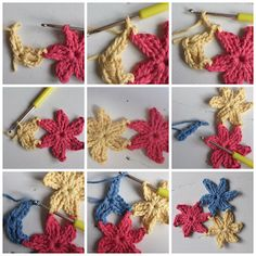 Crochet little connected flowers pattern, chart & step-by-step photos - 5 of 5 Freeform Crochet, Crochet Motif, Irish Crochet, Diy Crochet, Crochet Stitches, Crochet Mandala, Crochet Leaves, Crochet Flowers, Diy Crafts