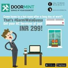 AC service at just INR 299! Get your AC dry/ wet service and beat the heat in peace!   www.doormint.in