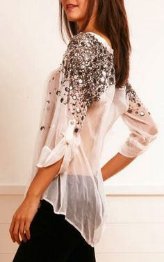 White Chiffon Embroidered Blouse